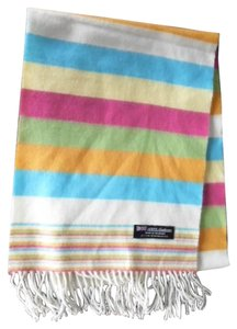 100% Cashmere Scarf Multicolored Stripes Pink Blue Green Scotland