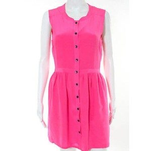 Madewell short dress Pink Mini Bright Shift Button-front Summer on Tradesy