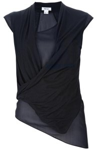 Helmut Lang Classic Edgy Casual Sheer Top Black