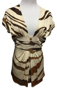 Roberto Cavalli Top Cream/Brown/Gold