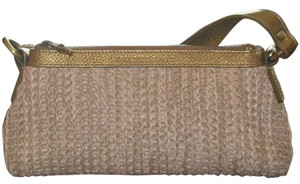 Burberry Tan Woven Straw Clutch