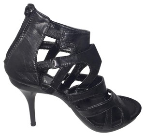 Shiekh High Heel 4.5 Inch Slim Heel Leather Black Sandals