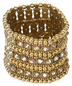 Wedding Bridal 3-row Gold Crystal Rhinestone Stretch Elastic Cuff Bracelet Gift