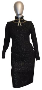 Dior Black Shimmer Tweed Suit with Chains