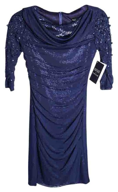 Item - Navy Blue Sequence Long Sleeve Knee Length Night Out Dress Size 0 (XS)