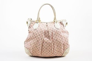 Louis Vuitton Cream Canvas Stripe Mini Lin Croisette Marina Pm Tote in Pink