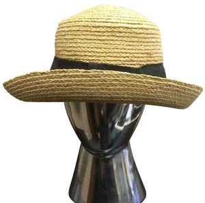 Black and Tan Straw Ladies Hat