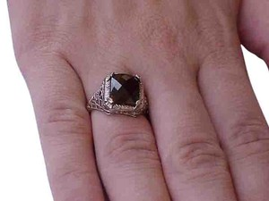 Other Estate Art Deco 14k White Gold Filigree Huge Genuine Bohemian Garnet, early 1900's