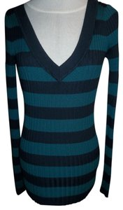 Mossimo Supply Co. Striped Teal Navy V-neck Sweater
