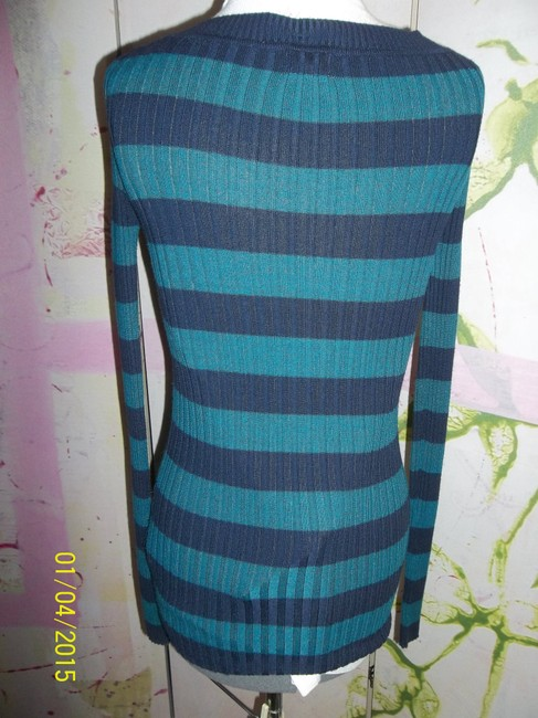 Mossimo Supply Co. Striped Teal Navy V-neck Medium Sweater