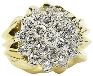 Diamond Cluster Two Color Gold Ring