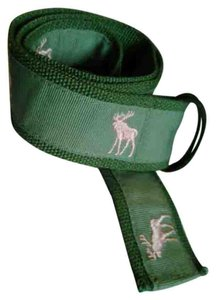 Other Olive Green Belt with Embroidered Pink Deer on Olive Green Grosgrain Ribbon
