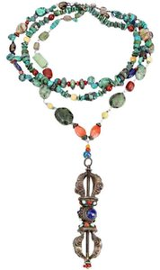 Turquoise Coral Lapis Agate Sterling Silver Dorje Necklace