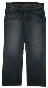 Seven7 5 Pocket Style Zip Fly 100% Cotton Straight Leg Jeans-Dark Rinse