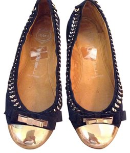 Jeffrey Campbell Black and gold Flats
