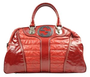 Gucci Leather Patent Satchel in Red 0960f07013ba3