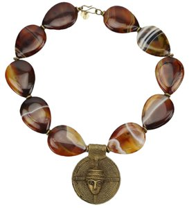 One-of-a-Kind Teardrop Banded Agate Necklace