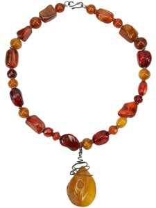 Unique Antique Amber and Silver Necklace