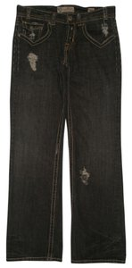 MEK DNM Back Flap Pockets 100% Cotton Button Fly Boot Cut Jeans-Dark Rinse