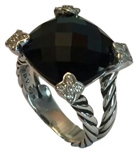 David Yurman DAVID YURMAN SS Cushion On Point 15x15 Faceted Black Onyx and Diamond Ring, sz 7