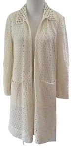 Zara Off White Lace Gold Studs Trench Coat
