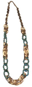 Long gold and touquoise necklace Gorgeous gold and turquoise statement necklace long