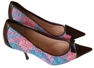Miu Miu Leather Knit Heels Pointed Toe Brown blue pink Pumps
