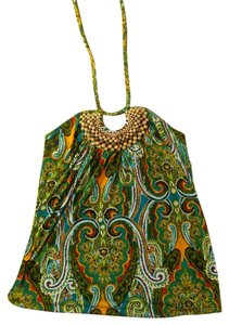 Other P271 Beaded Size Small Green green, blue Halter Top