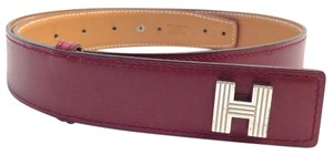 Herms Hermes 32 Mm silver Kelly H Belt Size 75 burgundy on Gold leather Reversible Belt