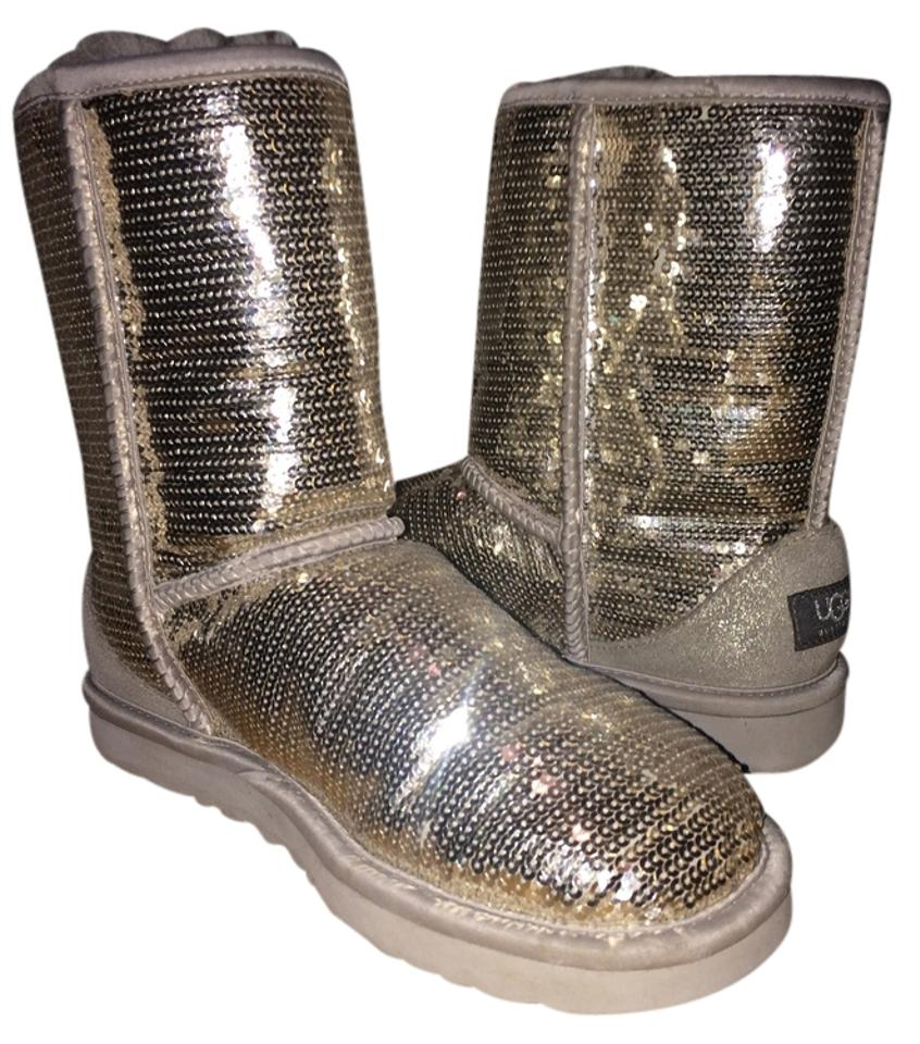 67d2bfd8982 UGG Australia Grey Sequin Women's Silver Classic Short Sparkles  Boots/Booties Size US 7 Regular (M, B) 47% off retail