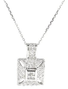 14K White Gold 0.50Ct Diamond Square Pendant Necklace 4.0 Grams 16