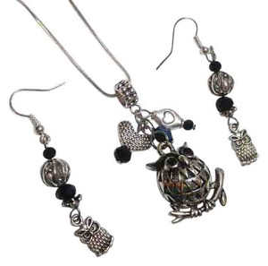 Owl Charm Pendant Necklace Earrings Set Sterling Chain J2538