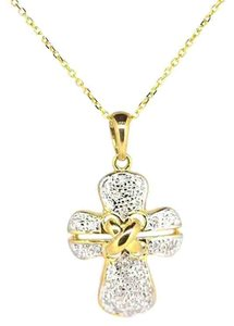 Other 14K Yellow Gold 0.25Ct Diamond Cross Pendant Necklace 4.1 Grams 16