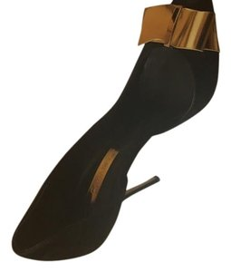 Casadei Classic Suede Stylish Black with gold bow Pumps