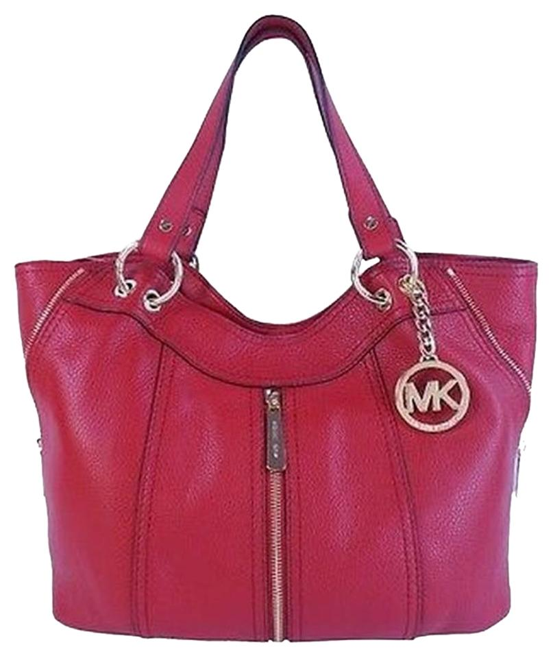 Michael Kors Moxley Tote Shoulder Satchel In Red