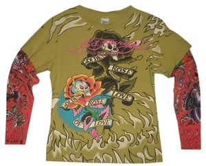 Ed Hardy T Shirt Olive Green & Red
