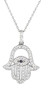 14K White Gold 0.60Ct Diamond Hand of God Pendant Necklace 18