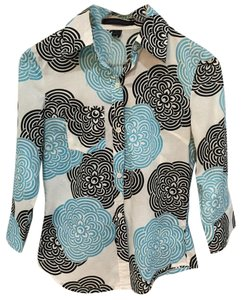 Express 3/4 Inch Sleeves Cotton Slim Fit Button Down Shirt Sky Blue and Black Floral Design on Ivory
