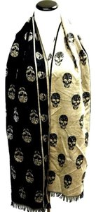 Reverse two tone Skull Men Scarf Wrap Fringe MEN WOMEN