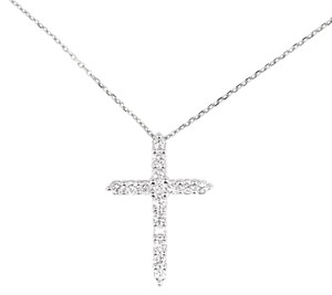 14K White Gold 0.48Ct Diamond Cross Pendant Necklace 3.3 Grams 16