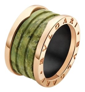 BVLGARI Bvlgari B.Zero1 18K Rose Gold 4 Band Green Marble Ring AN856221 US 5.5