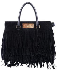 Saint Laurent Fringe Tote Satchel in Black