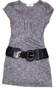 blushed Work Shirt Tank Black Belt Top Gray