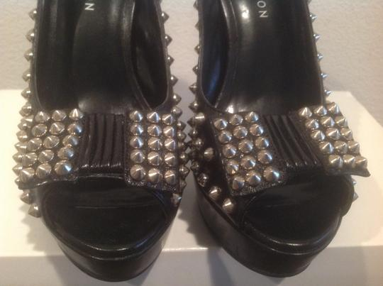 Kate Preston Covered Silver Grommets Black Platforms