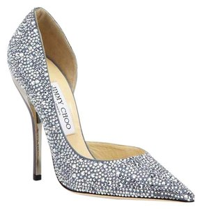 Jimmy Choo Swarovski Crystal Suede Blue Grey Pumps