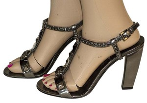 Prada Sandal Leather gray / black Pumps