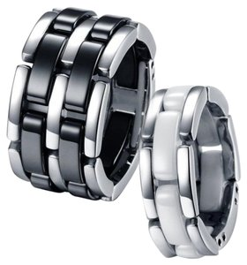 His & Hers Stainless Steel Black & White Ceramic Engagement Link Rings