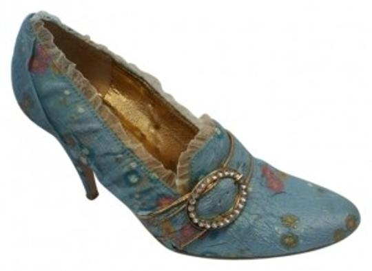 Ellie Shoes Victorian Buckle Costume Blue Pumps
