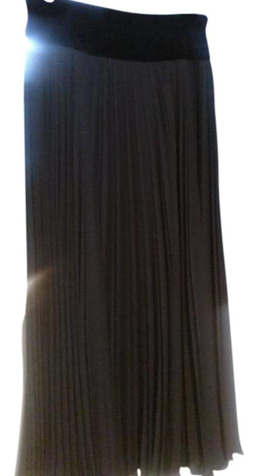 acd68bca0d Escada Black Finely Pleated Long with Velvet Wide Top Panel Skirt ...