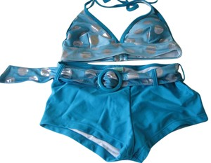 Marina West Marina West Silver & Blue Swim Suit - Short Styled Bottoms - Sz. Medium (10) - VGUC!